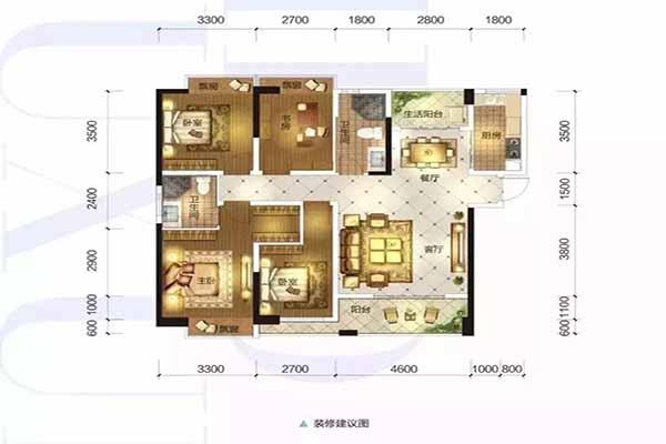 3#F4户型四房两厅两卫一厨房双阳台建筑面积:128-132㎡