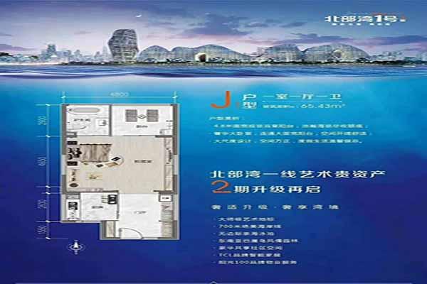 J1户型一室一厅一卫建筑面积:65.43㎡